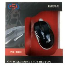 MOUSE OTTICO 5 TASTI CON FILO USB 800DPI CON SCROLL PSS PER PC NOTEBOOK COMPUTE