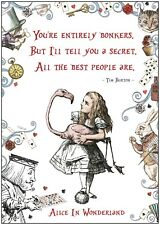 Alice In Wonderland Bonkers Quote Large Poster Art Print A0 A1 A2 A3 A4 Maxi