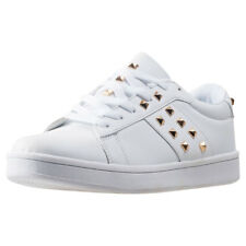 City Shoes Valent Strut28 Womens White Synthetic Casual Trainers Lace-up