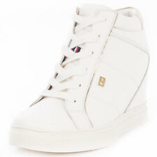 Tommy Hilfiger Danice 1a Womens White Leather Casual Wedges Lace-up New Style