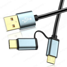 2 in 1 Gold Micro USB Type C Fast Charge Data Cable Adapter Lead for Sony Xperia