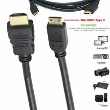Mini HDMI Type C To HDMI Standard A Cable Lead HD TV Ethernet V1.4 1M 1.5M 2M 3M