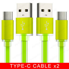 3 Pack 1M 2M Flat USB 3.1 Type C Fast Charger USB-C Data Cable Lead Wire - Green