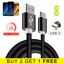 USB Type C Cable Braided 1M 2M FAST Charger USB C Lead for Samsung Galaxy S8/S8+