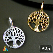925 STERLING SILVER or GOLD PLATED TREE OF LIFE 9.5mm PENDANT CHARM BRACELET