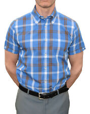 BRUTUS TRIMFIT BLUE & BROWN WINDOWPANE SHIRT SKINHEAD MOD CLOTHING SKA Oi MODS