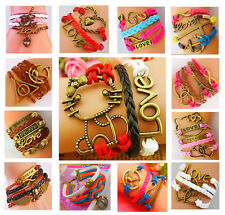 Leather Animal Music Games Infinity Cross Bronze Charms Bracelet Free Gift Bag