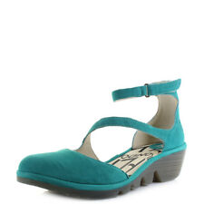 Womens Fly London Plan Cupido Leather Verdigris Green Ankle Sandals Shu Size