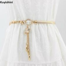 Fashion Elastic Women Metal Fish Stretch Rhinestone Gold Silver Waist Belt