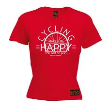 Ladies Cycling Tee - Cycling Makes Me Happy - funny Birthday tee T SHIRT T-SHIRT