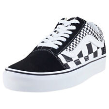 Vans Old Skool Mix Checker Unisex Black Suede & Canvas Casual Trainers Lace-up