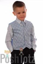 Boys Suits,Formal, Weddings, Pageboy 4 Piece Black & Blue Suit (0-3mths-15yrs)