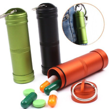 Camping Survival Waterproof Pill Box Container Aluminum Medicine Bottle Keychain