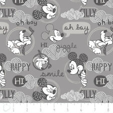 Disney Licensed Mickey Mouse Friends Grey 100% Cotton Nursery Neutral Quilting