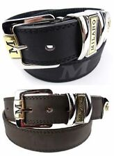 "Mens High Quality 1.25"" Leather Backed Chunky Milano Belt Silver Buckle Design"