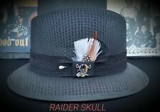 Mens Traditional Black Lowrider Original Frankshats Garcia hat Fedora with pin