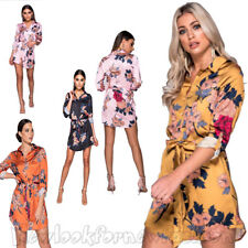 New Women's Floral Satin Shirt Dress Tie Front Collared Fashion Button Shirts