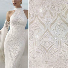 """Stunning Embroidery Bridal Lace Fabric 57"""" Floral Beaded Wedding Lace Fabric 1 Y"""