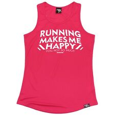 WOMENS - Running Makes Me Happy - Breathable fitness sports GIRLIE TRAINING VEST