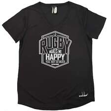 Rugby - Rugby Makes Me Happy - Rugga union funny Birthday DRY FIT V NECK T-SHIRT