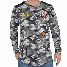 RIVALDI - T SHIRT OVERSIZE MANCHES LONGUES - HOMME - MABERRAS - CAMO GRIS NEUF