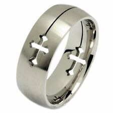 Laser Cut Cross Ring 316L Surgical Grade Stainless Steel 8mm