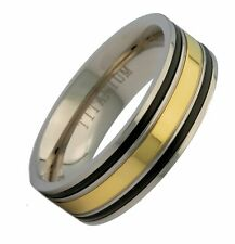 8mm Titanium Gold Plated Center Black Grooved Edges Wedding Band Ring