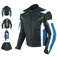 Motorcycle Jacket CE Armored Textile Motorbike Racing Thermal Liner Blue