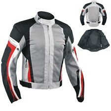 Summer Motorbike Mesh Sport Racing Touring CE Armored Jacket Motorcycle Grey Red