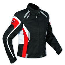 Jacket Textile Ladies Racing Motorcycle Motorbike CE Armored White Red