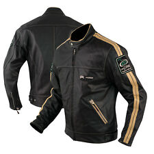 Motorbike Biker Custom Cruiser Motorcycle CE Armours Leather Jacket White