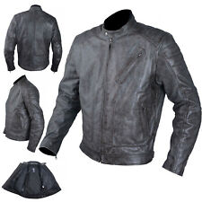 Jacket Leather Motorcycle Vintage Effect CE Protectors Armour CE