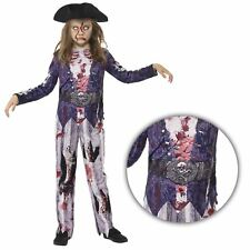bambine LUSSO Jolly Rotten Zombie Pirate Girl Costume Halloween con cappello