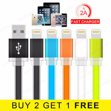 Flat Fast Charge Lightning Cable Data USB Charger Lead for iPhone 5s 6 6s 7 8 X