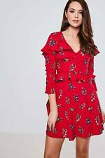 Brand Attic Womens Ladies Red Floral Peplum Frill Tea Dress Mid Sleeve Short