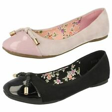 Spot On Ladies Flat Ballerina With Bow Detail