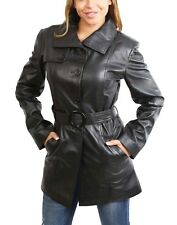 Womens Real Leather Black Trench Coat Waist Belt Mid Length Fitted Parka Jacket