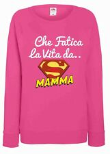 FELPA FUXSIA DA DONNA  FRUIT OF THE LOOM CON LA STAMPA: FATICA