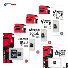 KINGSTON MICRO SD 8 GB 16 GB 32 GB 64 GB 128GB CLASS 4 10 MICROSD SCHEDA MEMORIA