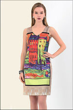 Women Ladies Picasso Painted Satin Printed Midi Dress Sleeveless Party Dresses