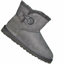 UGG AUSTRALIA  BOTTE  FEMME  MINI BAILEY BUTTON 3352 W GREY  GRIS NEUF GRADE A