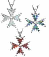 Silver Plated Maltese Cross Pendant Mother of Pearl Christening Necklace Jewelry