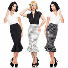 gonna a matita gonna matita VOLANT ROCKABILLY VITA ALTA Business midi longuette