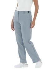 *Discontinued* Le Chef Womens Kitchen Chef Work Trouser Small Blue Check (DE58A)