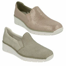Rieker Donna 53766 Mocassini in pelle zeppa casual, slip-on