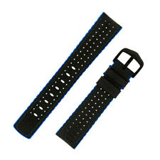 Hirsch AYRTON Carbon Embossed Rubber Performance Watch Strap in BLACK/BLUE