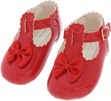Baypods Baby Girls Pram Party Shoes Ivory Black Red Size 0 - 24 Months 0 1 2 3 4