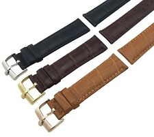 For ROLEX Watch BLACK BROWN Genuine Leather Strap Band Buckle 18 19 20 21 22mm