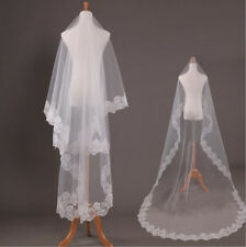 White/ivory Bridal Cathedral Veil Lace Edge Bridal Wedding Veil With Comb