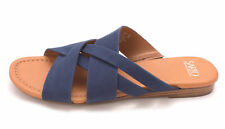 Franco Sarto Womens Gweniver Leather Open Toe Casual Slide Sandals